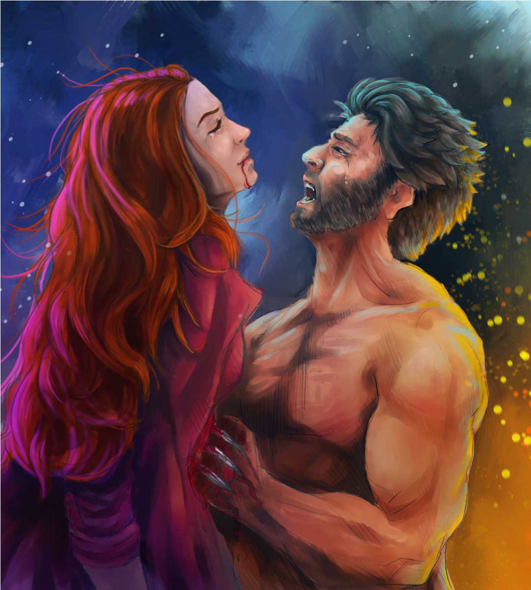X-Men Wolverine & Jean artwork - Suleiman